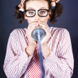 Stock Photo: Young Businesswoman Talking On Homemade Can Phone