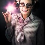 mujer de negocios brillantes y bobalicones con buena idea — Foto de Stock