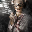 Private Eye Detective Smoking At Crime Scene - Stock Photo
