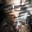 Female Business Spy With Smoke Near Window Blinds — Stock Photo