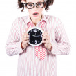 Business Woman Under Stress Holding Alarm Clock — Stock Photo
