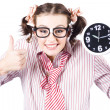 Isolated Young Girl Showing Clock With Thumbs Up — 图库照片