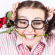 Cute Smiling Woman Wearing Nerd Glasses With Rose — Foto de Stock   #13812795