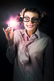 Bright And Nerdy Business Woman With Smart Idea — Stock Photo