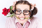 Cute Smiling Woman Wearing Nerd Glasses With Rose — Stock Photo