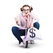 Redundant Business Girl Riding Off With Payout — Stock Photo
