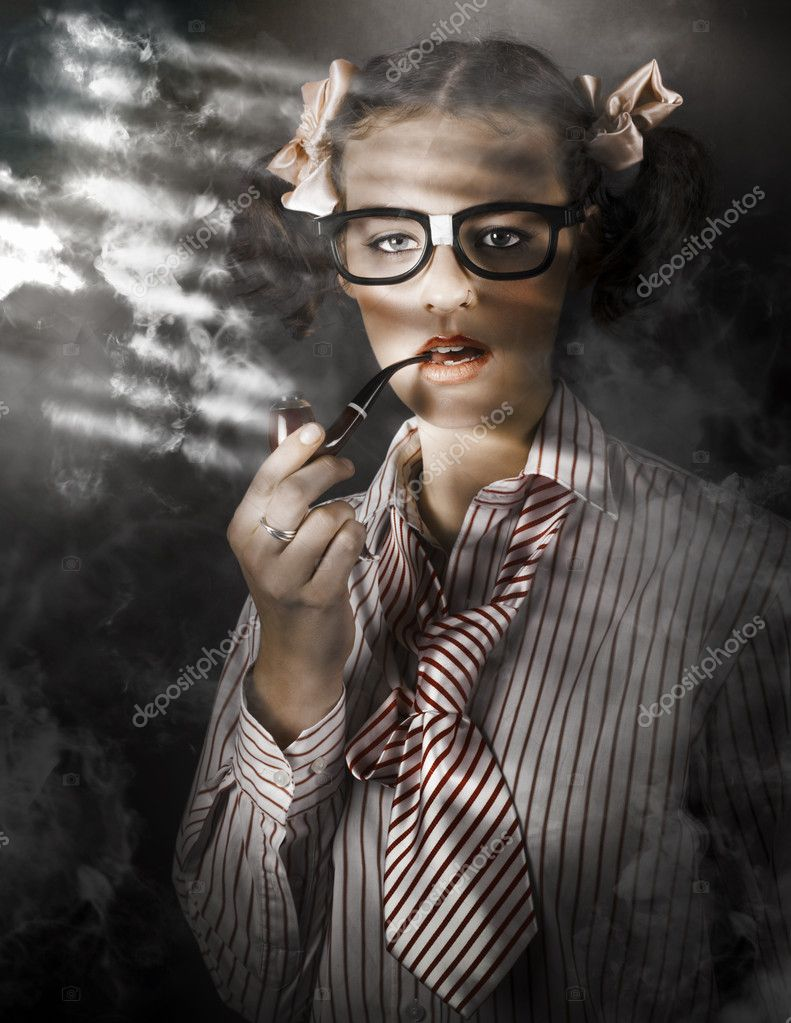Creative Retro Portrait Of Private Eye Detective Smoking Pipe At Crime Scene  Stock Photo #13812786