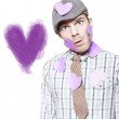 Isolated Love Struck Boy With Purple Heart Drawing — Stock Photo