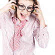 Cute Female Business Nerd Singing With Headphones — Stock Photo