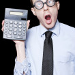 Surprised Mathematical Man With Financial Solution - Stock Photo