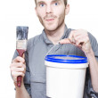 Happy Smiling Male Painter Holding Paint Tools — Stock Photo