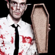 Dead Zombie Business Man Holding Funeral Coffin — Stock Photo