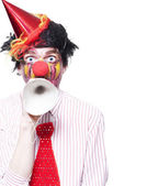 Birthday Clown Making Invitation To Party Guests — Stock Photo