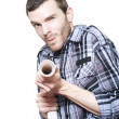 Professional Plumber Troubleshooting Blocked Pipe - Stock Photo