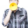 Isolated Shocked Man With Petrol Funnel Megaphone - Stok fotoraf