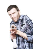 Professional Plumber Troubleshooting Blocked Pipe — Stock Photo