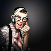 Nerd IT Help Desk Phone Operator Over Copyspace — Stock Photo
