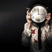 Dead Business Person Holding End Of Time Clock — Stock Photo