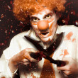 Messy Homicidal Clown In Bloody Horror Massacre — Stock Photo