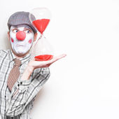 Business Countdown Clown Holding Deadline Timer — Stok fotoğraf