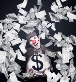 Crazy Clown Excited To Hold A Bag Of Money — Stock Photo