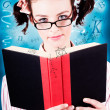 Bright Cute Girl Studying Education Textbook — Stock Photo