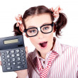 Isolated Finance Business Woman Holding Calculator — Stock Photo