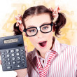 Stock Photo: Education Math Tutor Holding Numbers Calculator Education Math Tutor Holding Numbers Calculator