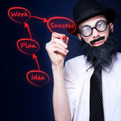 Marketing Business Man Drawing Success Diagram — Stock Photo