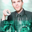 Futuristic Medicine Doctor Working With Interface - Stock Photo