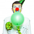 Foto Stock: Portrait Of Birthday Clown Preparing To Party