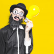 Smart Man With Big Creative Idea On Yellow Copyspace — Stock Photo