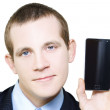 Businessman With Blank Screen Smartphone In Hand — Photo