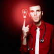 Emergency Room Doctor Signalling Red Alert Crisis — Stock Photo