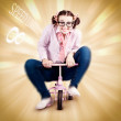 Nerd Breaking The Speed Of Sound On Kids Bicycle — Stock Photo