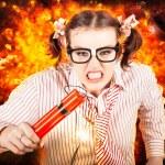 Crazy business arbetstagare enligt explosiva stress — Stockfoto