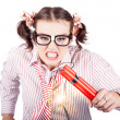 Foto Stock: Nerd Business WomHolding Exploding Time Bomb