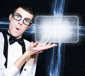 Male Nerd Advertising Digital Tablet PC Program — ストック写真