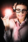 Smart Business Person Holding Light Bulb In Hand — Stock Photo