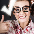 Excited Business Woman With Huge Tick And Thumb Up - Stockfoto