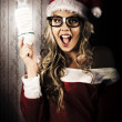 Smart Female Santa Claus With Christmas Idea - Stock Photo