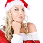 Isolated Santa Woman Thinking Up Blank Copyspace — Stock Photo