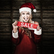 Christmas Woman With Smile And Xmas Sale Sign — Stock Photo