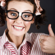 Funny Girl Showing Thumbs Up For All Is Good — Stock Photo #16240871