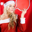 Christmas Girl Talking Though Copyspace Banner — Stock Photo