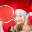 Santa Girl Holding Blank Bubble Board — Stock Photo #16242315