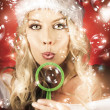 Beautiful Female Santa Making Christmas Wish — Stock Photo