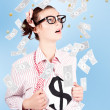 Foto Stock: Successful Female Business Superhero Winning Money