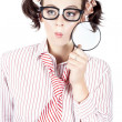 Isolated Woman Thinking With A Magnifying Glass - Stock Photo