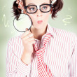 Nerdy School Girl Student With Education Question — Stock Photo